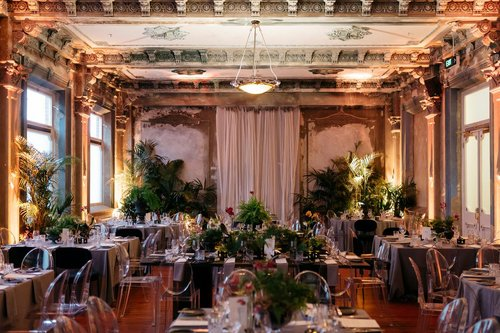 Sit down dinner configuration for a wedding- The George Ballroom